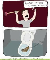 bathroom puns. Clog Clogged Clogs Double Meaning Literalism Toilet - 5493867520 Bathroom Puns 0