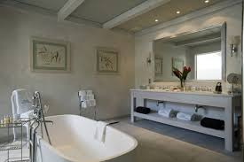 Bathroom:Natural Large Spa Bathroom Design With City View Classic  Freestanding Stone Bath To Complete