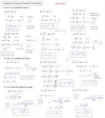 solving quadratic equations by completing the square worksheet