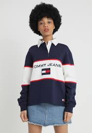tommy jeans 90s blocked rugby sweatshirt blue