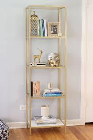 spray paint an ikea vittsjo bookcase shelving unit gold