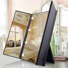 the 2018 makeup mirror 8 led light tri fold illuminated foldable make with regard to lighted vanity mirror prepare