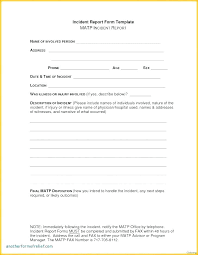 Incident Report Format Letter Accident Incident Report Form