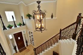 image of contemporary foyer chandeliers entryway