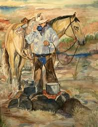 modern day outlaws was painted from a photo taken at the old motel 6 at blue john spring on a cowboy trip out to robbers roost kami herself is the woman