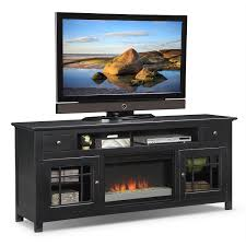 Large Black Tv Stand Furniture Rectangle Black Wooden Tv Stand With Fireplace And