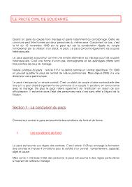 R Sum Sur Le Pacte Civil De Solidarit Docsity
