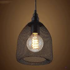 Metal Pendant Lighting Vintage Black Industrial Rustic Metal Mesh Pendant Light Ceiling