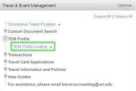 travel profile adding arrangers to an existing tem profile