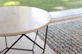 nile round marble top coffee table white grey geometric metal base mixed material small condo size