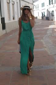 cool beach outfits 2018 go for a long and flowy green dress on your beach