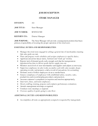 job store manager job description resume
