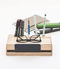 Desk Organizer Handmade Modern Solid Wood Desk Organizer With Smartphone Stand