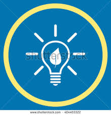 vector square blue icon lighting bulb. eco light bulb vector bicolor icon image style is a flat symbol inside square blue lighting