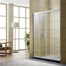 four panel glass shower door with aluminum frame two fix two sliding glass door screen bathroom