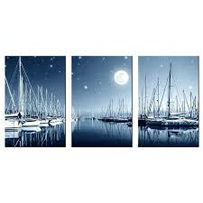 boat wall art 4 panels contemporary landscape painting night sky full moon and dock ship canvas
