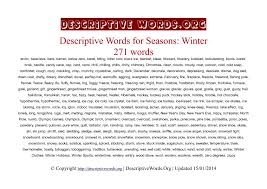 descriptive words for winter descriptive words list of  winter season descriptive words
