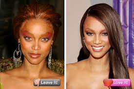 tyra banks red eye shadow is rarely a good move it either makes you look tired or in tyra s case on the far left demonic she made much nicer use of warm