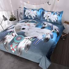 wolves couple bedding set native american wolf duvet cover tribal animal galaxy bed set heart dreamcatcher bedspread navy blue duvet cover queen comforter