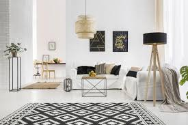 black and white diamond shapes rug