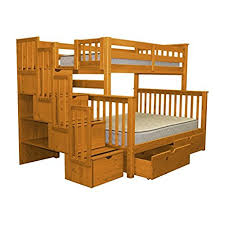 bunk bed with stairs. Bedz King Stairway Bunk Beds Twin Over Full With 4 Drawers In The Steps And 2 Under Bed Drawers, Honey Stairs E