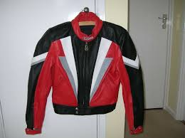 womens mens leather motorcycle jacket as new harro small size 40 10 12 black red with armour