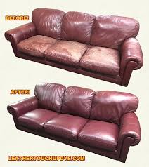 the before and after photos of this very couch whole was completed leather touch up dye leather touch up