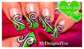 Abstract Nail Art Design Tutorial | Green Swirl Nails ♥ - YouTube