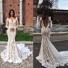 modest lace mermaid wedding dresses with long sleeves v neck