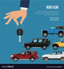 Rent Poster Rent A Car Poster With Hand Holding Auto Key Vector Image