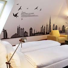jm7280 city building wall decal vinyl wall art removable sticker large wall stick art mural home or office decor
