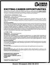 mechanical supervisor fitter tayoa employment portal job description