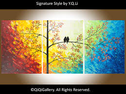 Original Modern Heavy Texture Impasto Painting Palette Knife Tree Love  Birds Painting Wall Dcor. via