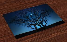 Navy Blue Placemats Set Of 4 Tree Under Clear Night Sky With Moon And Stars Galaxy Nature Landscape Art Print Washable Fabric Place Mats For Dining