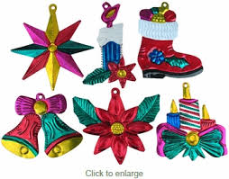 Tin Mexican Christmas Ornaments - Per Doz
