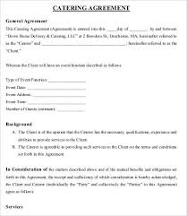 Catering Agreement 9 Simple Catering Agreement Templates Docs Word Free