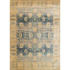 7 ft x 10 ft blue and gold area rug for traditional dining room floor design ideas
