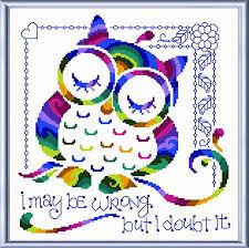 Owl Cross Stitch Pattern Cool I Know I'm Right Cross Stitch Pattern Owl