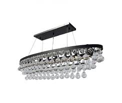 celeste oval glass drop crystal chandelier black