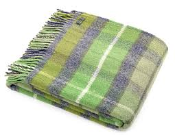 wool blanket british made gifts classic check wool throw green grey