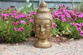 large heavy brass buddha head statue