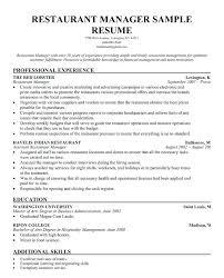Restaurant Shift Leader Sample Resume Podarki Co