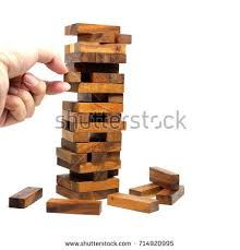 Wooden Brick Game Isolated Hand On Wood Tumbling Stack Stock Photo 100 81