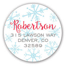 Merry Christmas Snowflakes Holiday Label