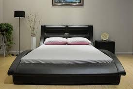 J&M Furniture Black Wave Leatherette Queen Size Platform Bedroom Set 3Pcs Casual