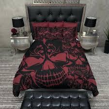skull bedding sets red and black collage skull bedding skull bedding sets king size