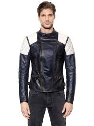 belstaff greensted two tone leather moto jacket blue white men clothing belstaff jackets belstaff leather jacket collection