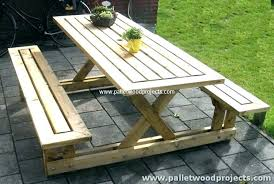 wooden picnic tables with detached benches and pallet table round wood wi