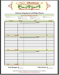 Shopping Spreadsheet Christmas Shopping List Planner Budget Spreadsheet