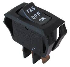 switches rocker all electronics corp s p d t center off rocker switch rated 16a 125vac snap mounts into 26mm x 15mm rectangular cutout black rocker and bezel white lettering on rocker
